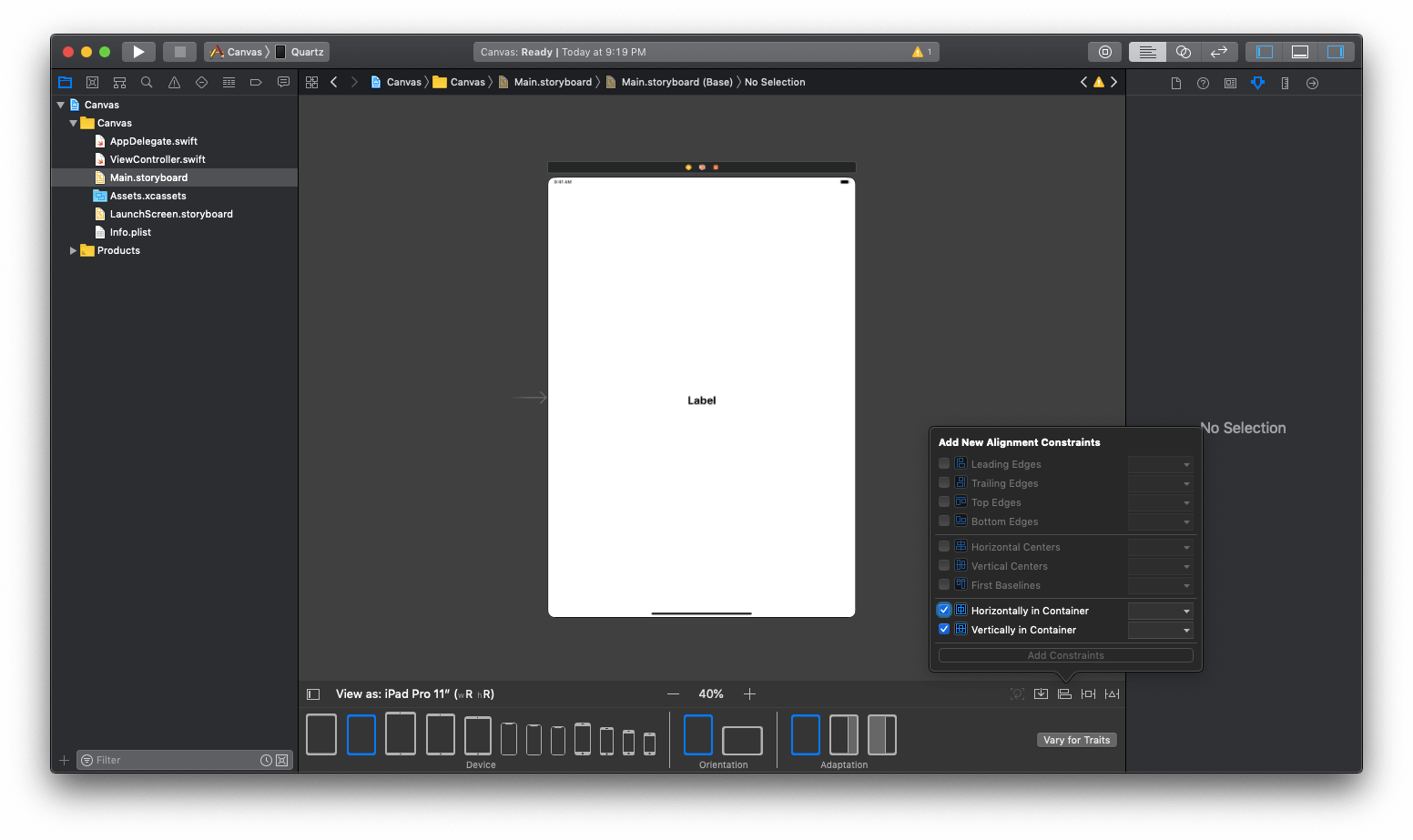 Adding layout constraint