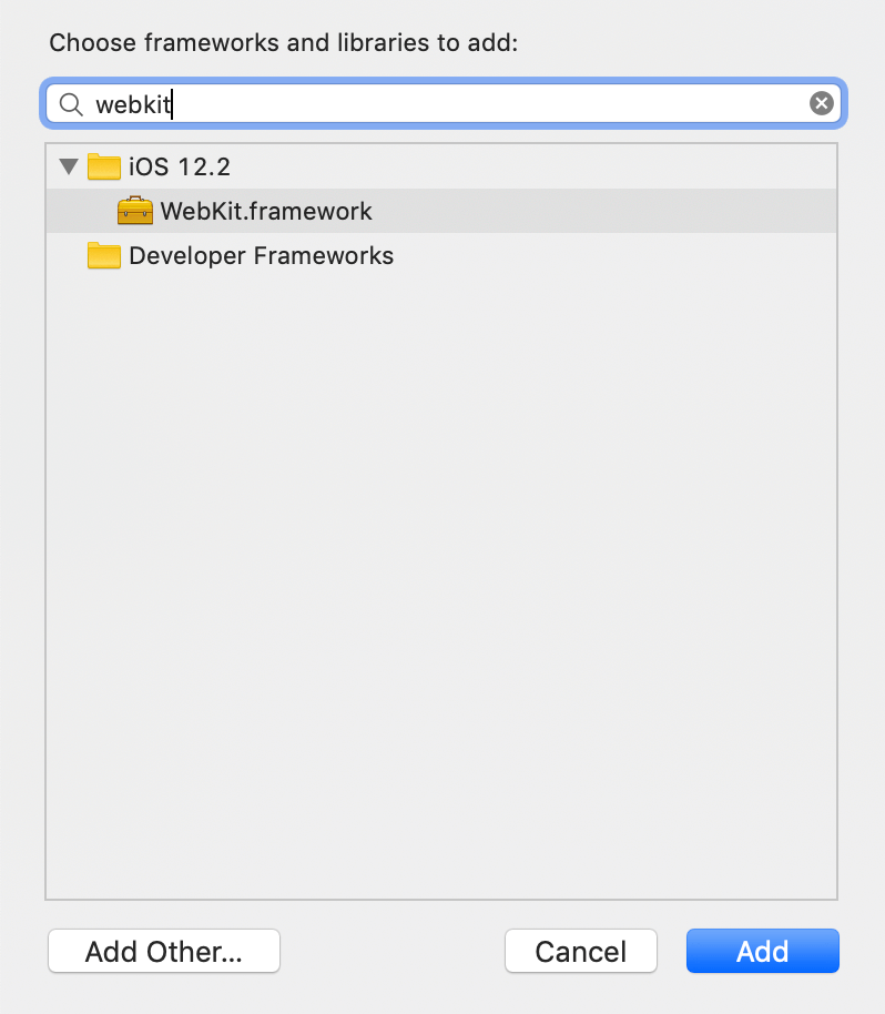 Adding the WebKit framework