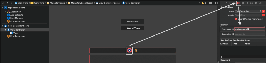 Xcode - adding storyboard ID