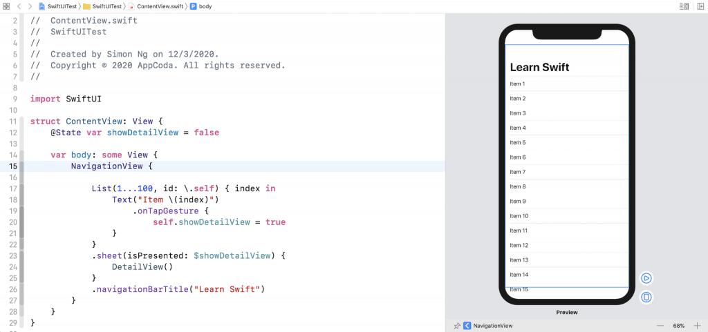 Xcode-swiftui-list