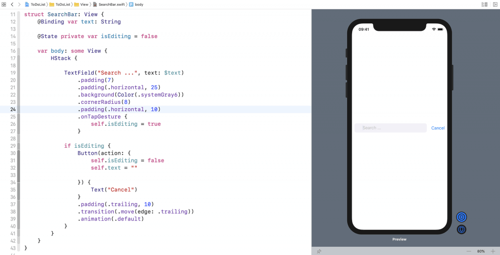 swiftui-search-bar-xcode-preview