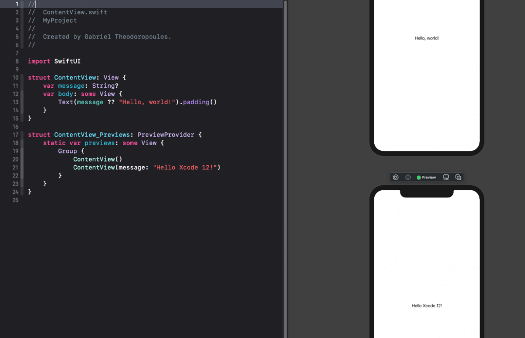 Xcode-12-swiftui-preview
