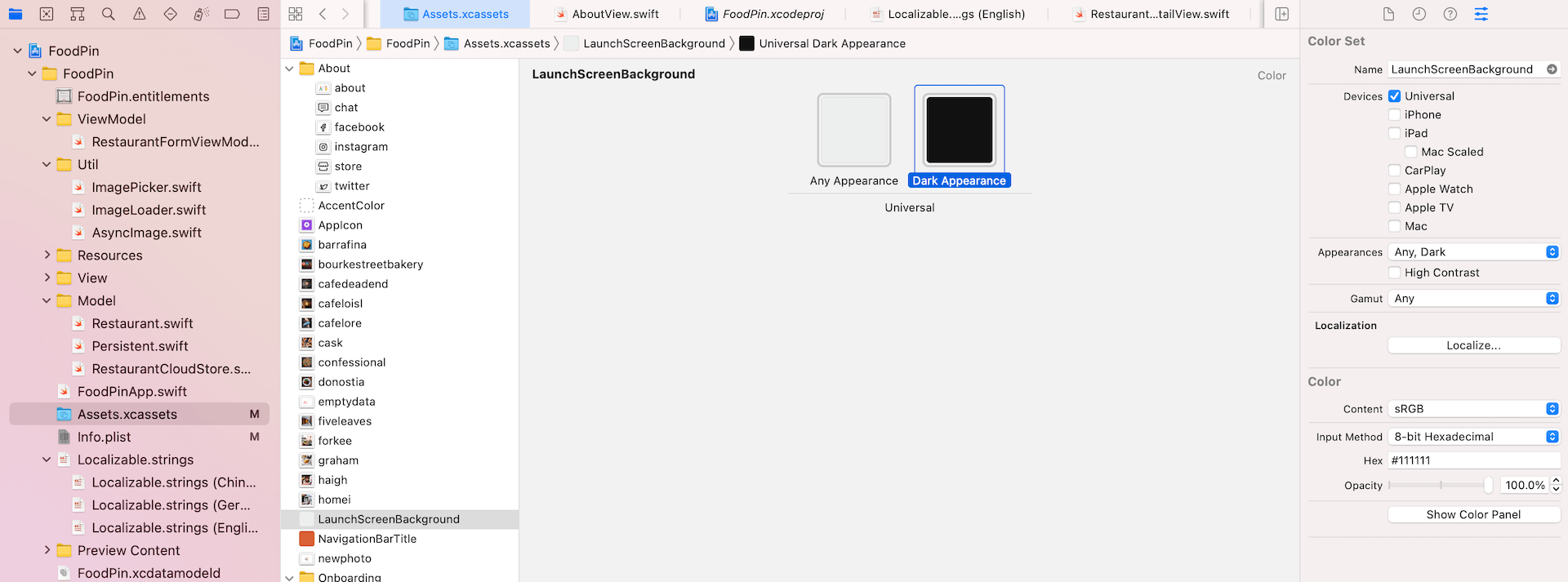 Creating a color set in asset catalog of Xcode