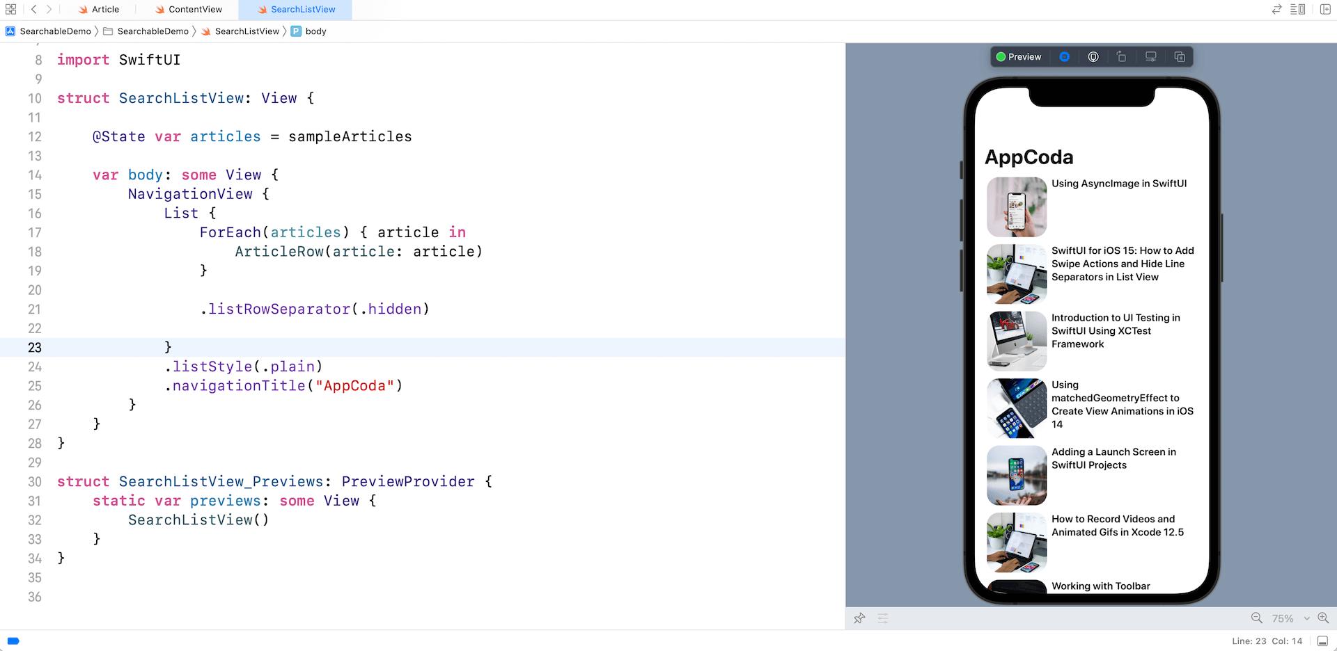 Search-bar-ios15-demo